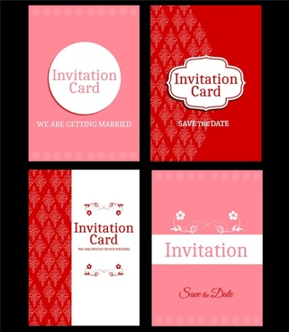 wedding card template sets various red pink decoration