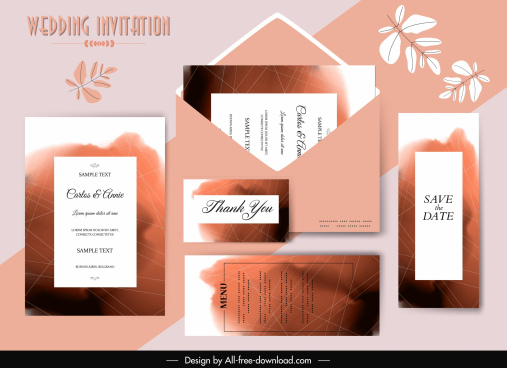 wedding card template stain color decor