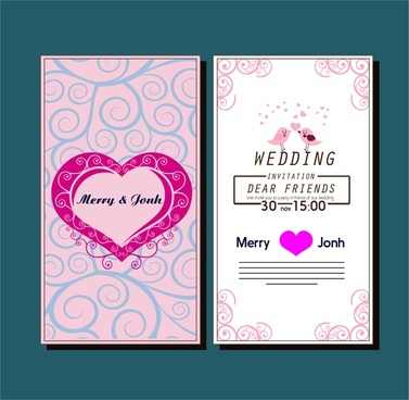 wedding card template with hearts birds curved pattern