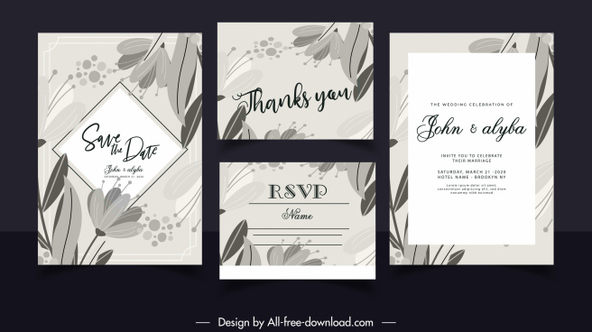wedding card templates black white retro handdrawn botany