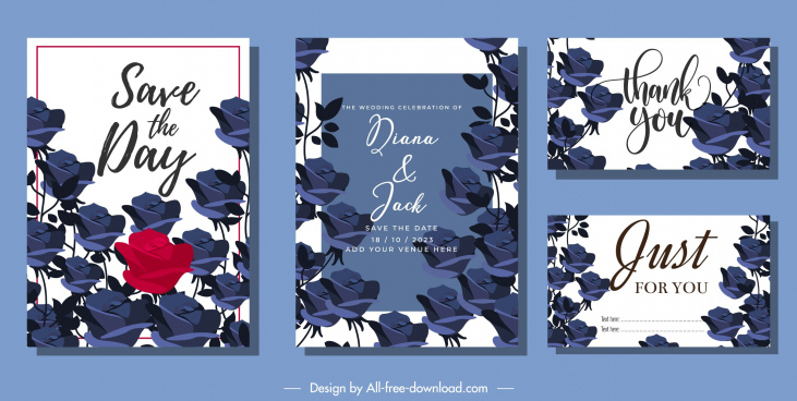 wedding card templates blue roses decor classic design