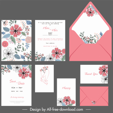 wedding card templates botanical decor colorful retro handdrawn