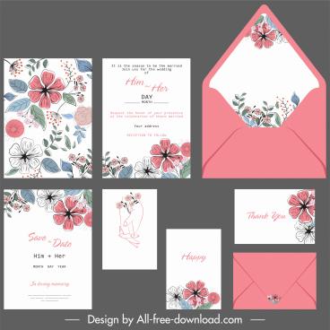 wedding card templates botanical decor colorful retro handdrawn
