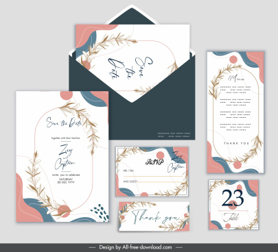 wedding card templates classic bright colorful plants decor