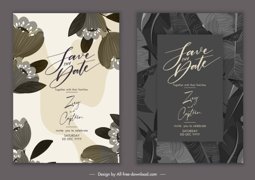 wedding card templates classic dark botany leaves decor