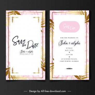 wedding card templates classical flat leaf decor