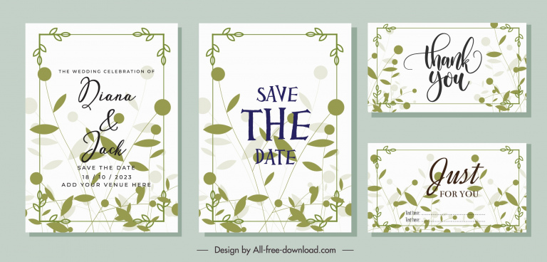 wedding card templates classical green leaves sketch