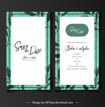 wedding card templates classical leaves decor