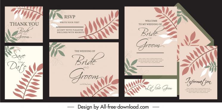 wedding card templates classical leaves decor