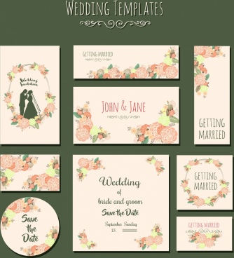 wedding card templates colorful flowers marriage couple icons