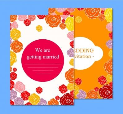 Anniversary wedding card template coreldraw free vector download wedding card templates colorful rose background ornament stopboris Choice Image
