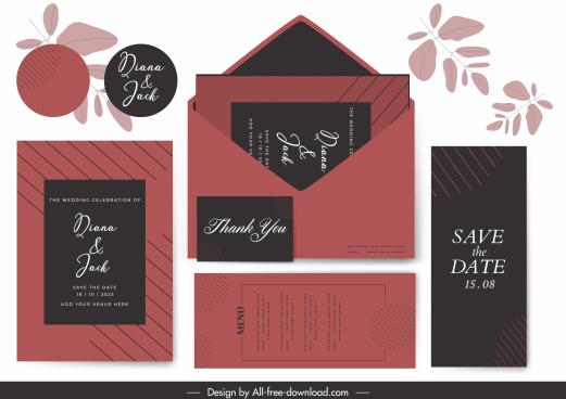 wedding card templates dark black red classic decor