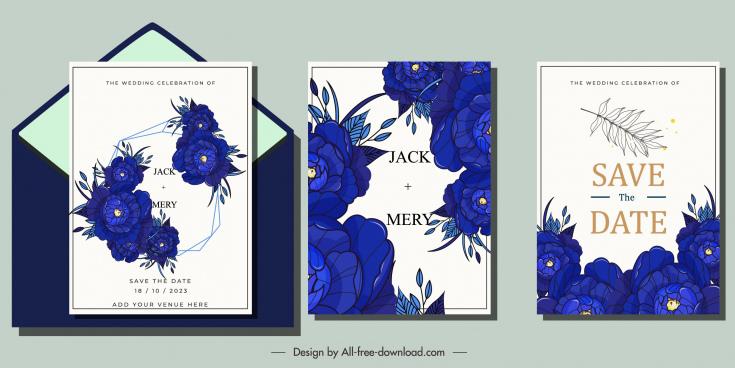 wedding card templates dark blue flora decor
