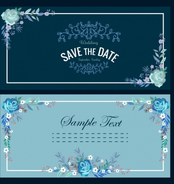 wedding card templates dark classical flowers frame ornament