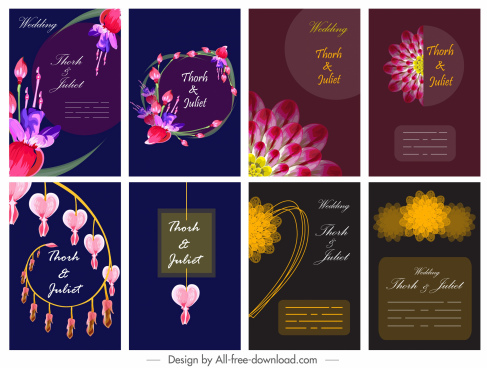 wedding card templates dark colorful classic elegant decor