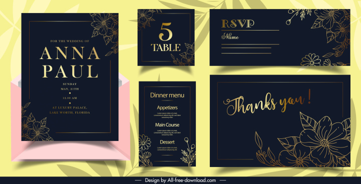 wedding card templates dark design elegant petals sketch