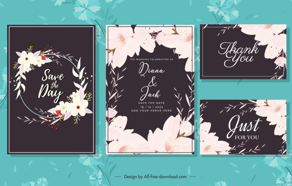 wedding card templates dark elegant floral decor