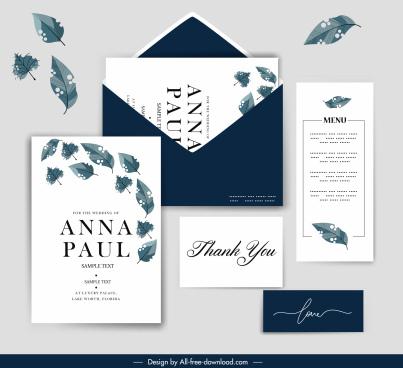 wedding card templates dynamic leaf decor