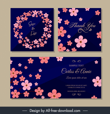 wedding card templates elegant cherry blossom decor
