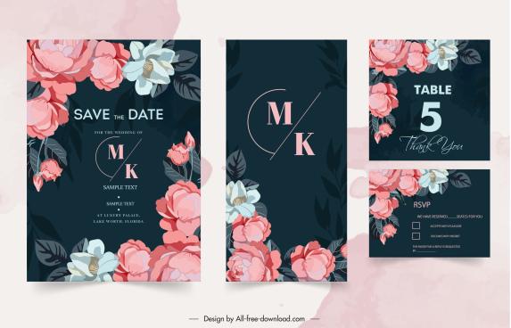 wedding card templates elegant classic floral decor