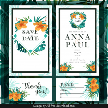 wedding card templates elegant classic floral leaves decor