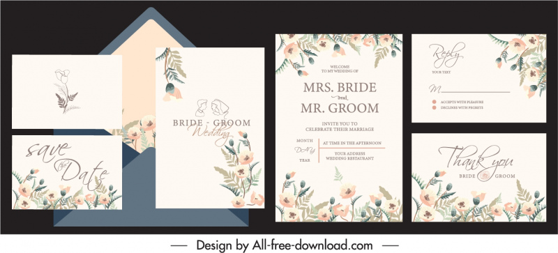 wedding card templates elegant classic flowers decor