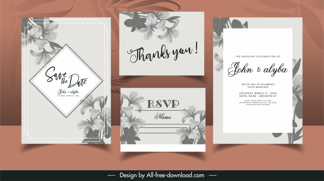 wedding card templates elegant classic grey petals decor