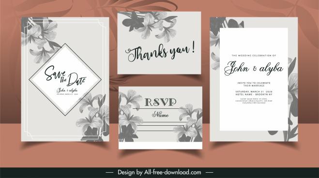 wedding card templates elegant classic grey petals decor