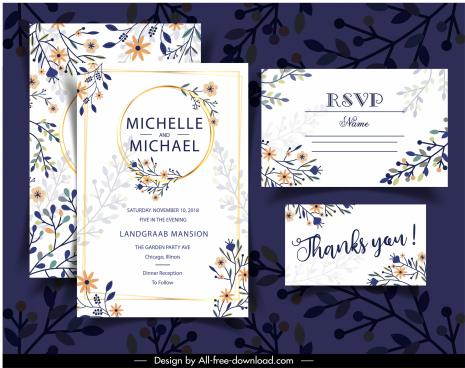wedding card templates elegant classical colorful flat floral