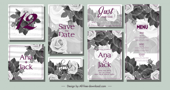 wedding card templates elegant classical grey roses decor