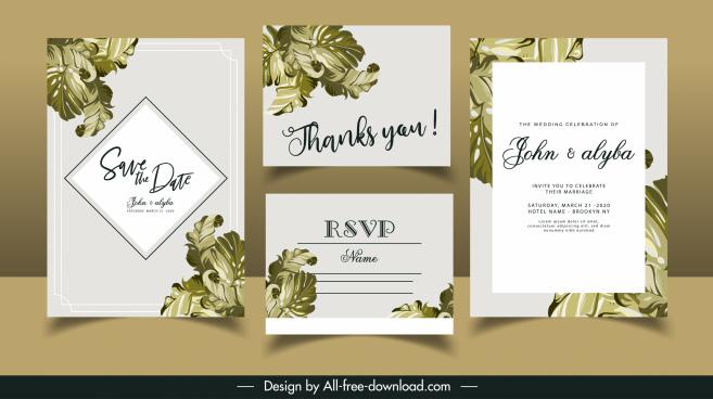 wedding card templates elegant classical leaves decor