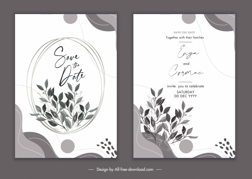 wedding card templates elegant classical leaves decor