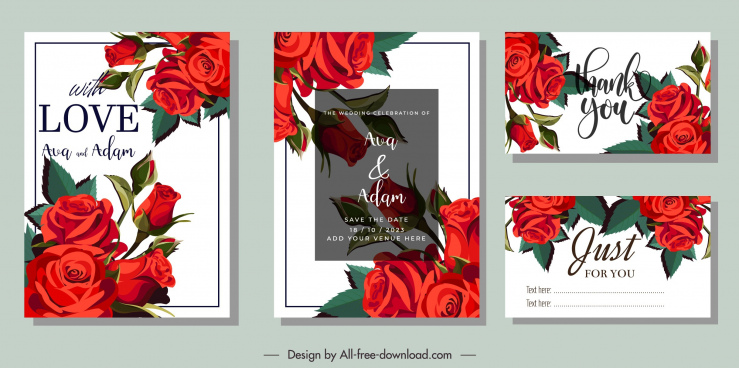 wedding card templates elegant classical red roses decor