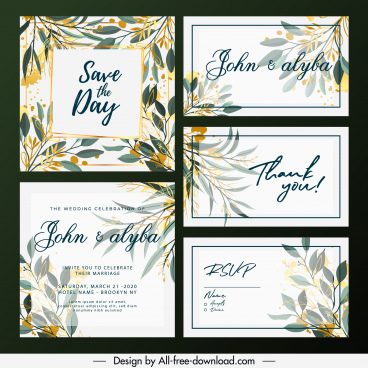wedding card templates elegant colorful classic flora decor