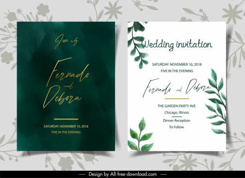 wedding card templates elegant contrast design leaf decor