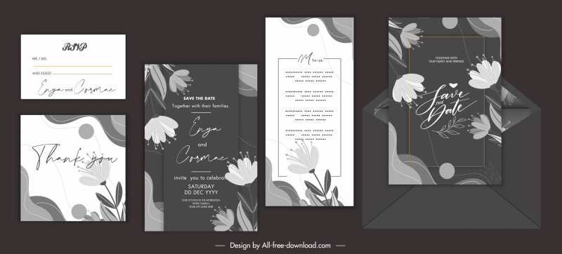 wedding card templates elegant dark floral decor