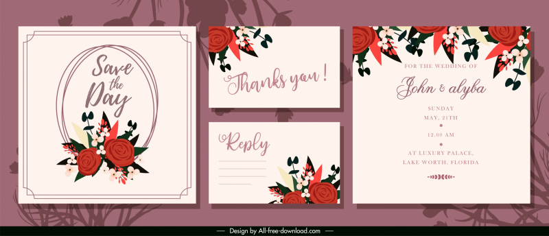 wedding card templates elegant floral decor classic design