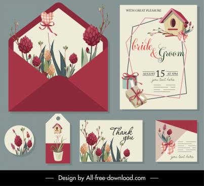 wedding card templates elegant floral gifts sketch