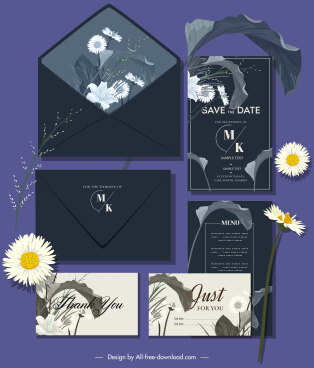 wedding card templates elegant floras leaves decor