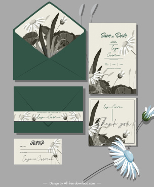 wedding card templates elegant handdrawn classic floral decor