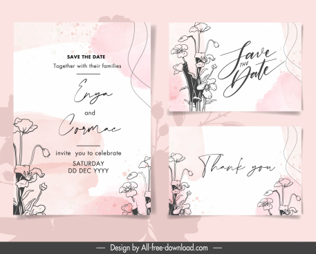 wedding card templates elegant handdrawn floras decor