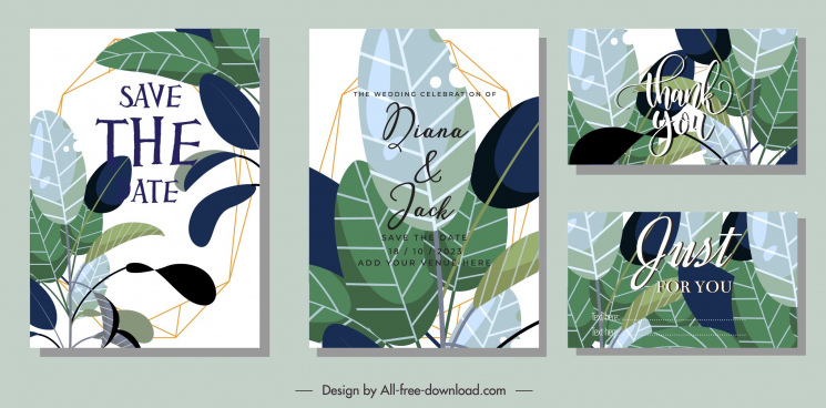 wedding card templates elegant leaves decor classical design