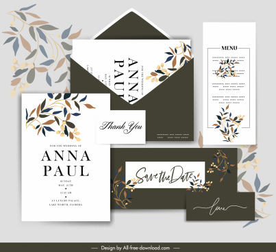 wedding card templates elegant leaves decor contrast design