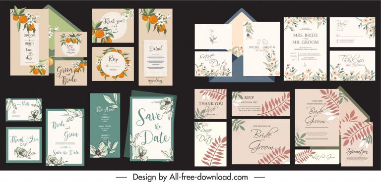 wedding card templates elegant plants decor