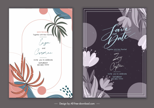 wedding card templates elegant retro bright dark design