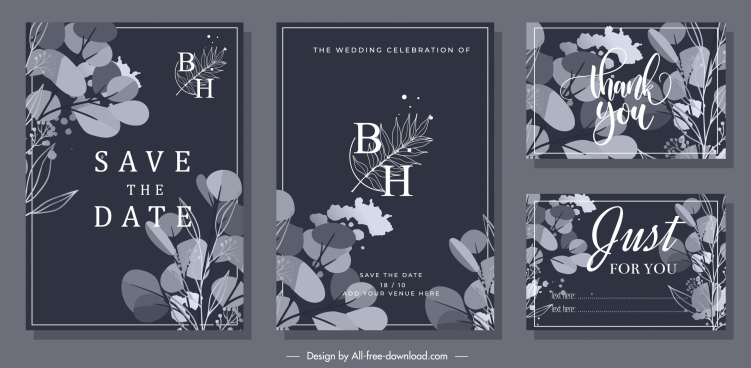 wedding card templates floral decor elegant dark design