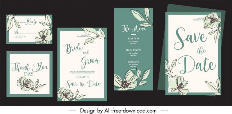 wedding card templates handdrawn botany decor