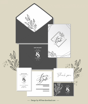 wedding card templates handdrawn classic floral decor