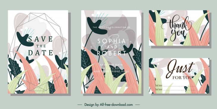 wedding card templates natural flora theme classical design