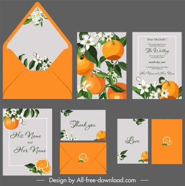 wedding card templates orange leaves flower decor